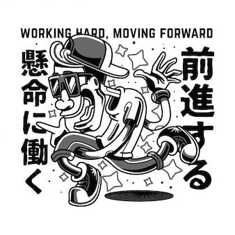 Trabalhando, em movimento, preto branco, ilustração