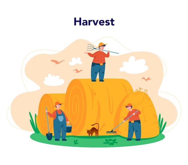 Trabalhando em uma fazenda, conceito de agricultor
