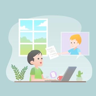 Trabalhando juntos em casa