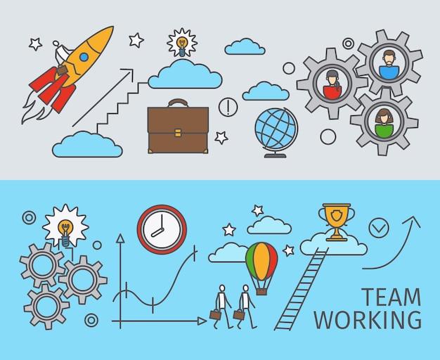 Trabalhando juntos no conceito de negócio. trabalho em equipe. conquista do objetivo. ilustração vetorial.