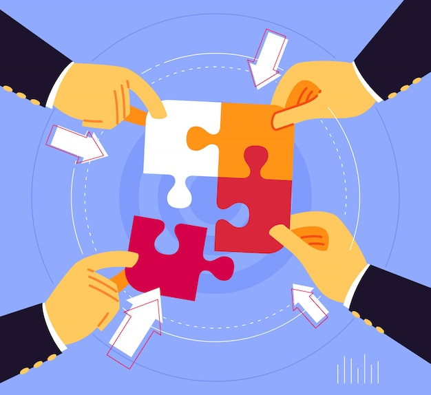 Trabalhando juntos para unir a peça do quebra-cabeça