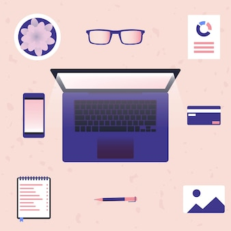 Trabalhando no laptop e em casa ilustração