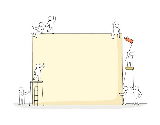 Trabalhando pessoas pequenas com ilustração grande placa