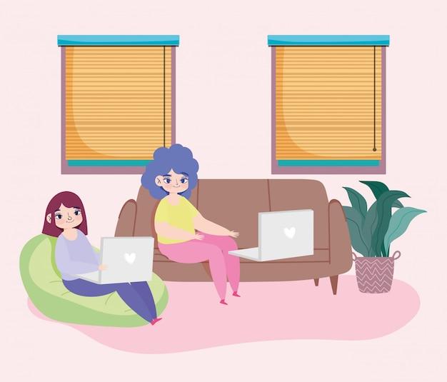 Trabalhando remotamente, jovens mulheres sentadas no sofá com o laptop na ilustração da sala