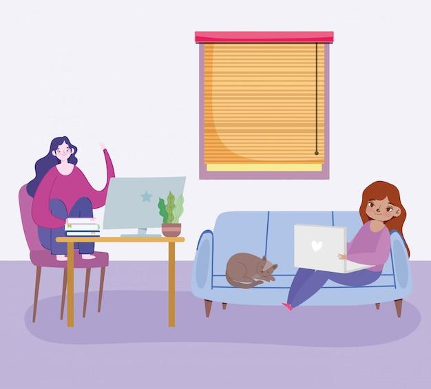 Trabalhando remotamente, jovens mulheres sentadas no sofá e mesa de trabalho com o laptop na ilustração da sala