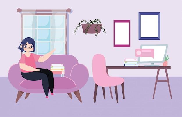 Trabalhando remotamente, mulher sentada na sala do sofá com ilustração de mensagens de computador de mesa