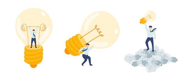 Trabalhar a idéia de gerenciamento de funcionários, pessoas de equipe de montagem em miniatura fazem lâmpada conceito de metáfora de negócios cartaz ou banner social design ilustração isolado no fundo branco