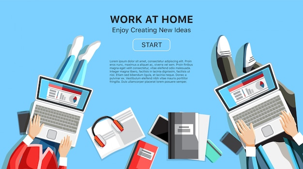 Trabalhar em casa banner de negócios com pessoas