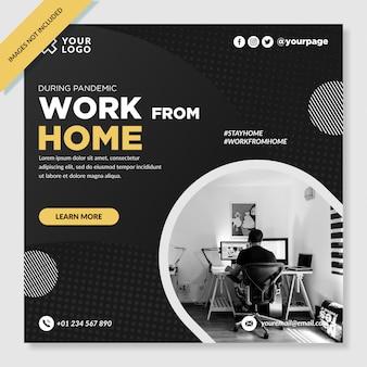Trabalhar em casa banner instagram post vetor premium