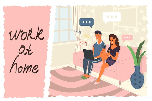 Trabalhar em casa, fazer coworking, hospedar um webinar, ilustração do conceito. jovens, homens e mulheres, freelancers trabalham em casa usando laptop, computador, smartphone durante a quarentena. ilustração vetorial.