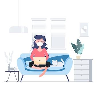 Trabalhar em casa ficar em casa conceito de distanciamento social em quarentena. lockdown covid-19 surto de coronavírus. personagem plana pessoas abstratas de cuidados de saúde e médicos.