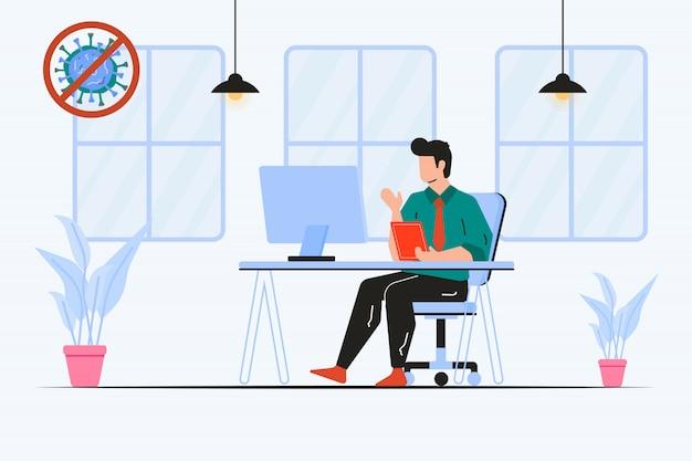 Trabalhar em casa porque a ilustração do coronavírus