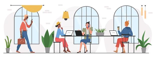 Trabalhar em conjunto com pessoas no interior do local de trabalho do escritório em espaço aberto