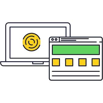 Trabalhar na ilustração de ícone de vetor de computador portátil. recarga do dispositivo, símbolo de atualização da página da web. monitor digital de tela isolada e página do site