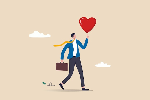 Trabalhe a paixão para motivar e inspirar o funcionário a alcançar o sucesso na carreira, amar seu trabalho ou feliz e desfrutar do conceito de trabalho dos sonhos de trabalho, empresário feliz segurando coração apaixonado caminhando para o trabalho.