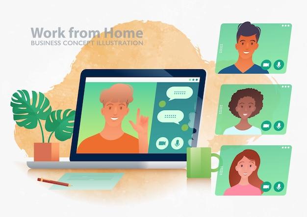 Trabalhe a partir de uma ilustração do conceito de casa com uma discussão de negócios entre colegas de trabalho por meio do aplicativo de videochamada no laptop