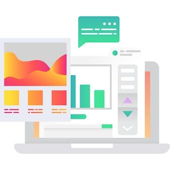Trabalhe a tarefa do projeto no gráfico e no ícone do gráfico vetorial