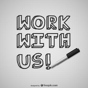 Trabalhe com a gente lettering vector
