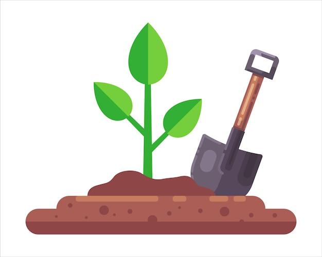 Trabalhe com pá perto de uma planta na ilustração do plano do solo