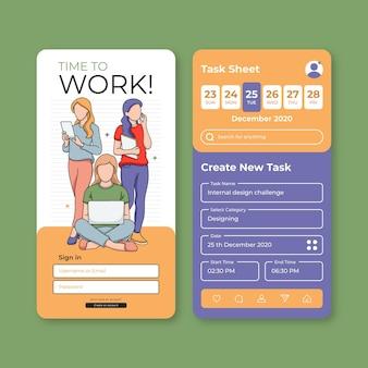 Trabalhe e conecte o aplicativo móvel de gerenciamento de tarefas