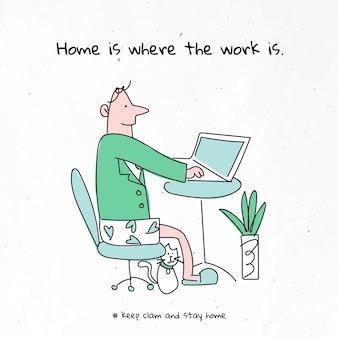 Trabalhe em casa com um personagem pandêmico de coronavírus de gato
