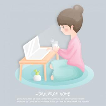 Trabalhe em casa conceito com garota usando laptop.