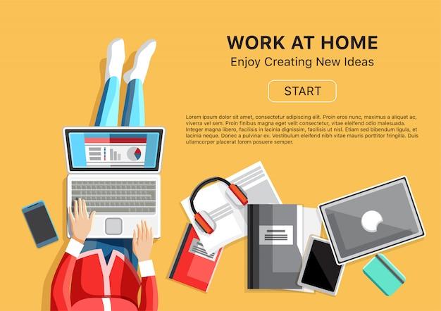 Trabalhe em casa conceito com mulher