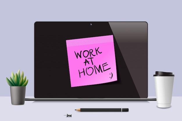 Trabalhe em casa. conceito de ilustração para funcionários que correm o risco de serem expostos ao coronavírus. efeito de distanciamento social da epidemia de coronavírus para empresas e funcionários públicos.
