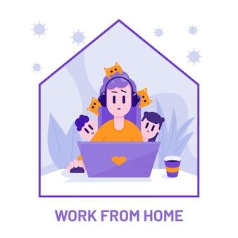 Trabalhe em casa conceito. mãe remota trabalhando com crianças e animais de estimação ao redor.