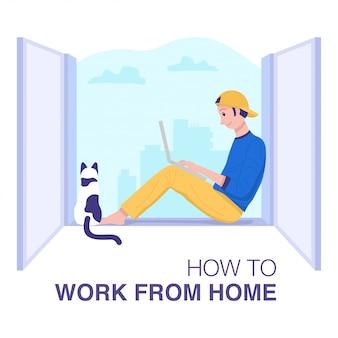 Trabalhe em casa conceito, um jovem sentado junto à janela e trabalhando no laptop.