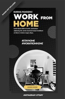 Trabalhe em casa, design de histórias de banner de instagram