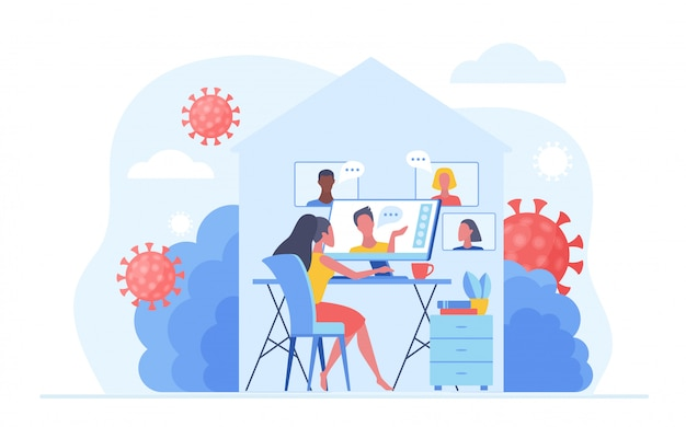 Trabalhe em casa durante o vírus de quarentena covid-19 para evitar uma infecção viral. pessoas que trabalham on-line, videoconferência e conversam em casa. ilustração do conceito de distância social.