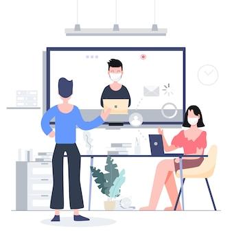 Trabalhe em casa e fique em casa por teleconferência para negócios bloqueados. conceito de surto de coronavírus covid-19. pessoas abstratas de design plano.