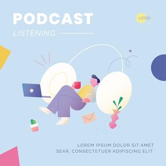 Trabalhe em casa e poste nas mídias sociais de podcasting
