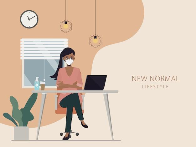 Trabalhe em casa na janela. mulher fique em casa e trabalhando com um laptop e falando no telefone.