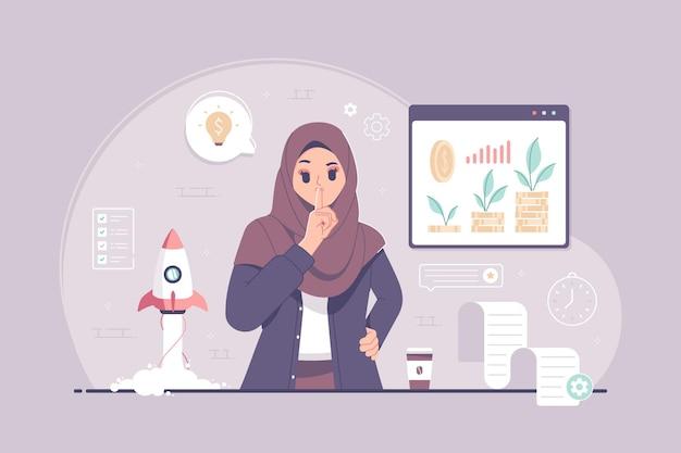 Trabalhe em silêncio. mulher de negócios islâmica com ilustração de gesto de calar a boca