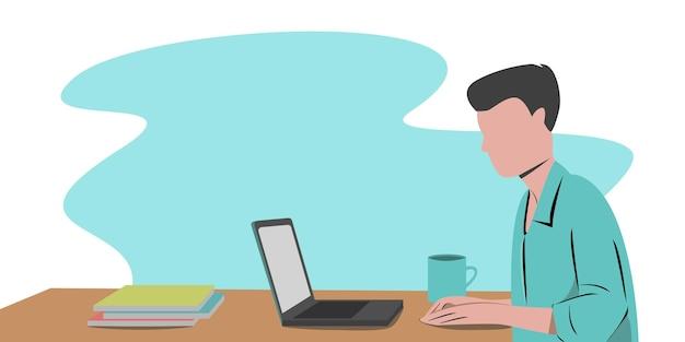 Trabalhe no projeto de conceito de casa. freelance homem trabalhando no laptop em sua casa, vestido com roupas de casa. ilustração vetorial isolada no fundo branco. estudo online, educação