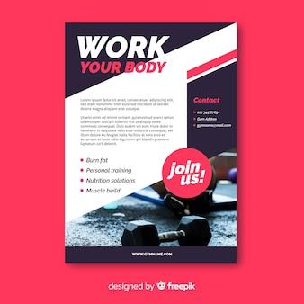 Trabalhe seu panfleto de esporte com foto