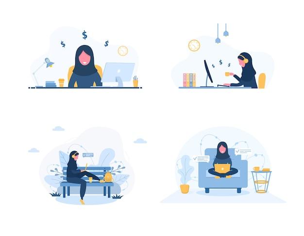 Trabalho a partir de casa. conjunto de freelancer de mulheres.
