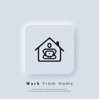 Trabalho a partir de casa. freelance. carreira, trabalho durante a quarentena. webinar, conferências online. vetor. botão da web da interface de usuário branco neumorphic ui ux. neumorfismo