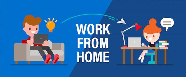 Trabalho a partir de casa. jovens, freelancers de homem e mulher trabalhando remotamente em laptops e computadores. pessoas em casa em quarentena. ilustração de estilo simples dos desenhos animados.