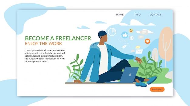 Trabalho autônomo de publicidade de landing page de inspiração