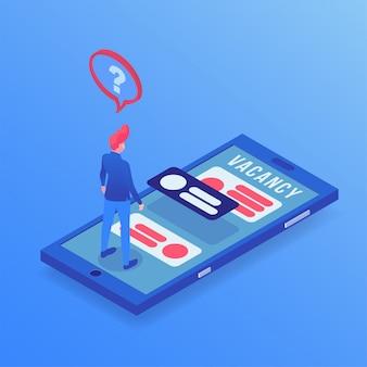 Trabalho, busca, app, isometric, ilustração
