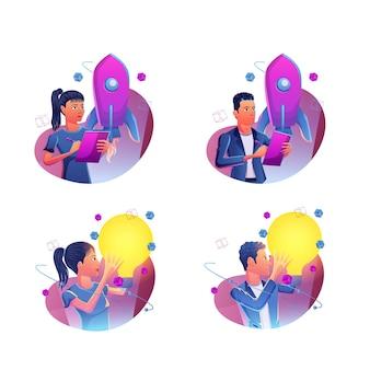 Trabalho criativo de negócios inicia conceito de ilustração, projeto de negócios, pensamento criativo, ideia, planejamento, estratégia, conceito de inovação