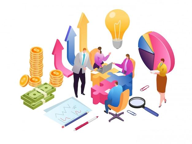 Trabalho criativo em equipe e ilustração isométrica de análise de dados de desenvolvimento. relatório financeiro e estratégia. trabalho em equipe de negócios para o crescimento do investimento, marketing e gestão em equipe.