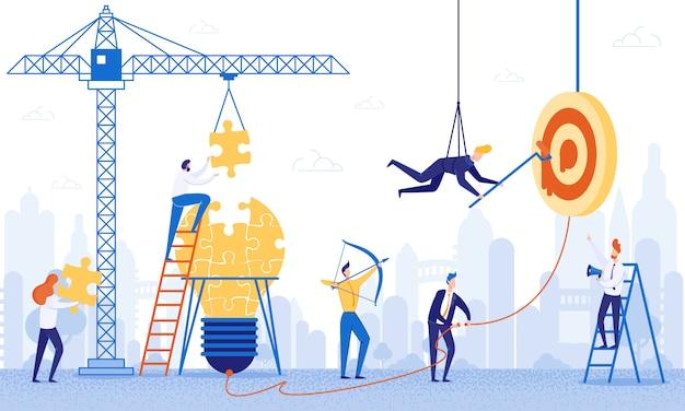 Trabalho da equipe da bandeira no plano dos desenhos animados das ideias da construção.