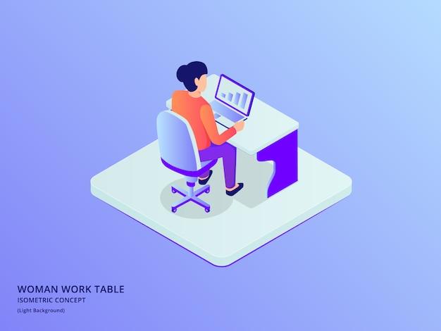 Trabalho da mulher no laptop sentar na cadeira com isométrica