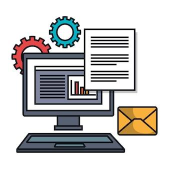 Trabalho de arquivo de e-mail do computador