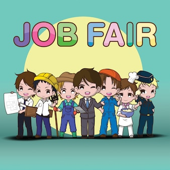 Trabalho de arte bonito job fair cartoon.
