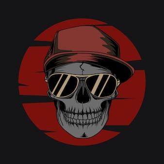 Trabalho de arte ilustration e camiseta design crânio humano com chapéu legal e óculos escuros premium